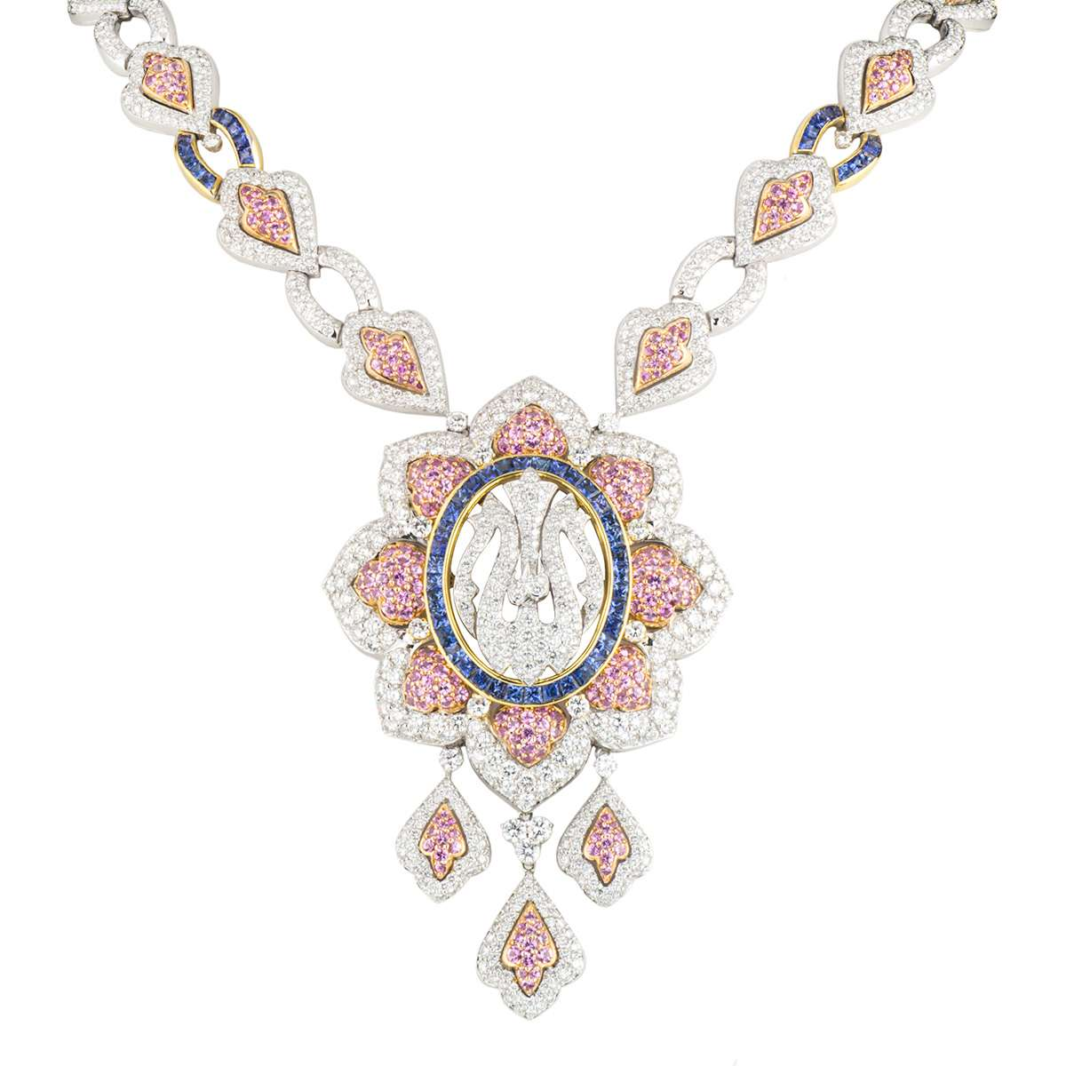 White Gold Diamond, Sapphire and Topaz Allah Necklace